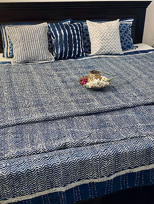 Indigo Blue and White Hand Block Printed And Hand Quilted Kantha Double Bed Cover (L - 106in, W - 88in)