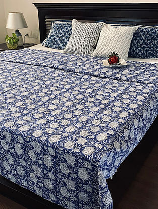Royal Blue and White Hand Block Printed And Hand Quilted Kantha Double Bed Cover (L - 109in, W - 84in)