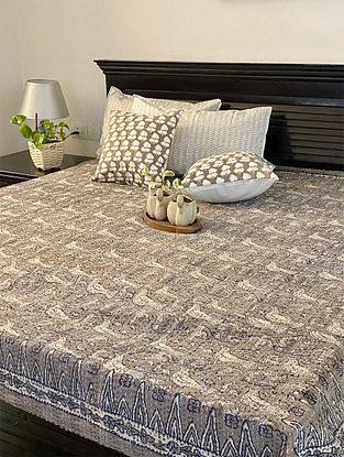 Brown and Beige Hand Block Printed And Hand Quilted Kantha Double Bed Cover (L - 107in, W - 90in)