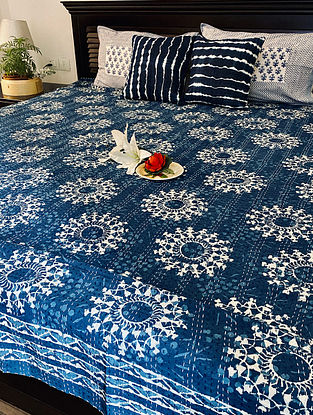 Indigo Blue and White Hand Block Printed And Hand Quilted Kantha Double Bed Cover (L - 108in, W - 89in)