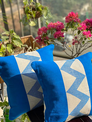 Off White and Blue Hand Woven Naga Cushion Cover (L - 16in, W - 16in)