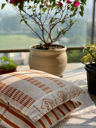Off White and Rust Hand Woven Naga Cushion Cover (L - 16in, W - 15.5in)