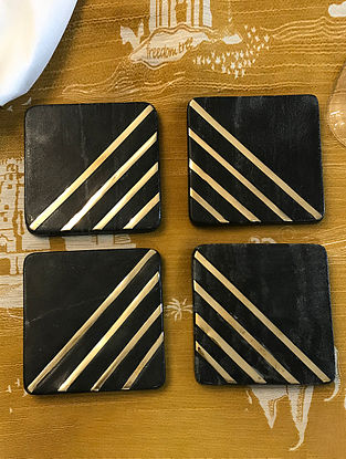 Black Marble Coasters with Brass Inlay (Set of 4)