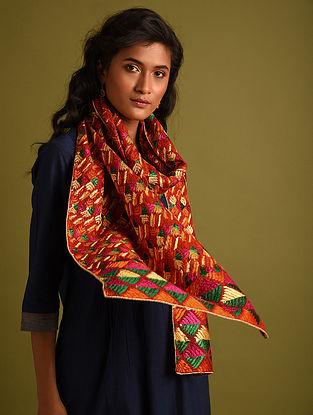 Multicolour Phulkari Embroidered Cotton Stole
