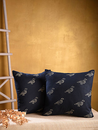 Multicolored Hand Block Printed Cotton Cushion Cover (Set of 2)