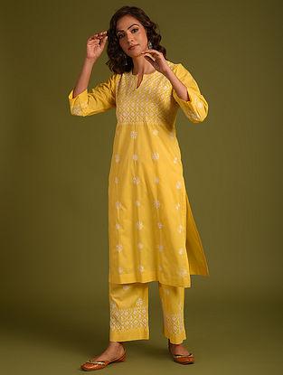 Yellow Chikankari Cotton Kurta and Pants
