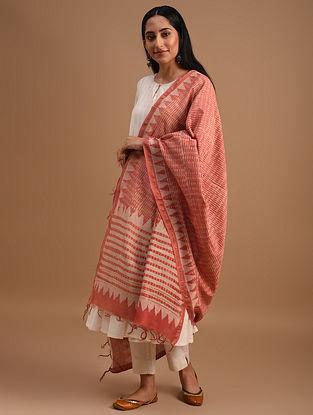 Pink Handloom Handblock Printed  Chanderi Dupatta