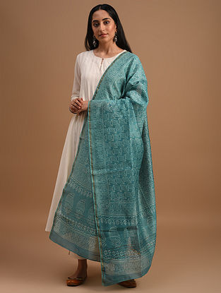Blue Handloom Handblock Printed  Chanderi Dupatta