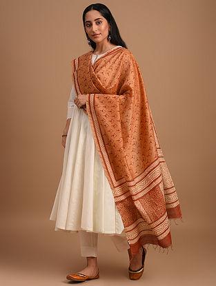 Orange Handloom Handblock Printed  Chanderi Dupatta