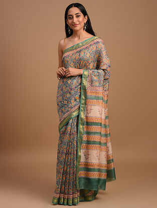Grey Handloom Handblock Printed  Chanderi Saree