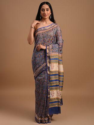 Blue Handloom Handblock Printed  Chanderi Saree