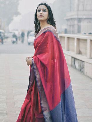Maroon Handloom Chanderi Saree