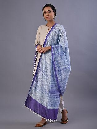 Blue Handloom Shibori Dyed Linen Dupatta