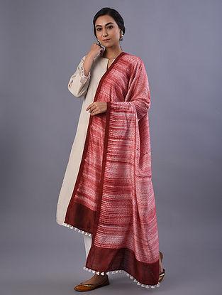 Red Handloom Shibori Dyed Linen Dupatta