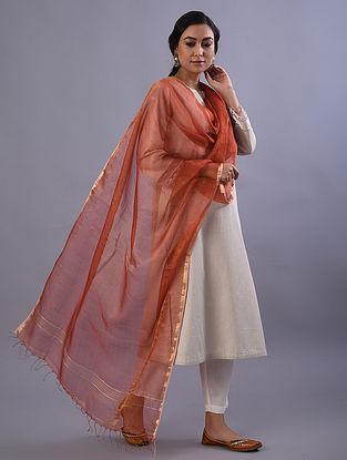 Red Handloom Tissue Linen Dupatta