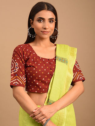 Red Bandhani Cotton Blouse
