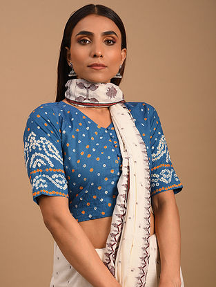 Blue Bandhani Cotton Blouse