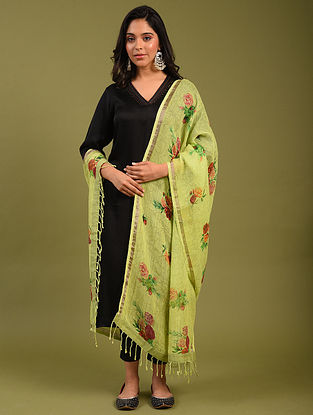 Green Printed Linen Dupatta
