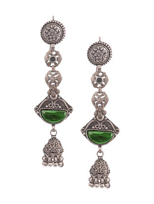 Green Vintage Silver Earrings