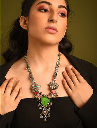 Red Green Vintage Silver Necklace