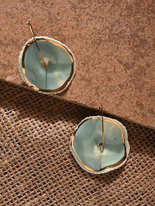 Turquoise Gold Tone Handcrafted Ceramic Earrings