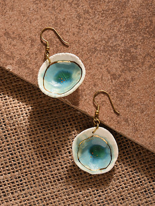 Turquoise White Gold Tone Handcrafted Ceramic Earrings