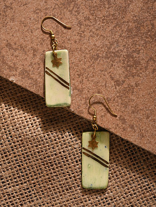 White Gold Tone Handcrafted Ceramic Earrings