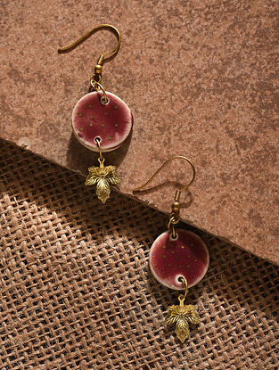 Red Gold Tone Handcrafted Ceramic Earrings