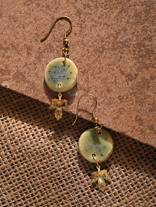 Green Blue Gold Tone Handcrafted Ceramic Earrings