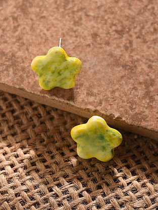 Yellow Handcrafted Ceramic Stud Earrings