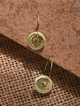 Green Gold Tone Handcrafted Ceramic Earrings