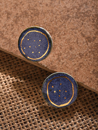 Blue Gold Tone Handcrafted Ceramic Earrings