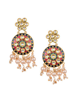 Blue Pink Gold Tone Kundan Earrings With Pearls
