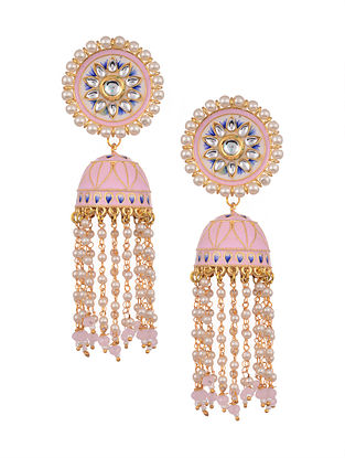 Pink Blue Gold Tone Enameled Jhumki Earrings With Pearls