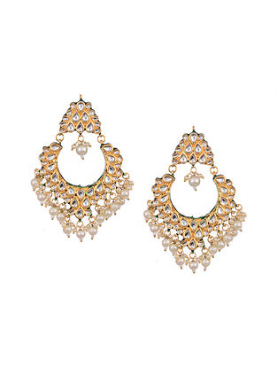 Gold Tone Enameled Earrings With Pearls