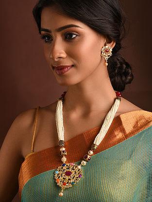 Multicolored Navratan Gold Tone Kundan Necklace And Earrings