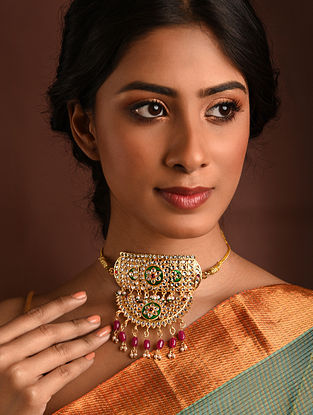 Green Red Gold Tone Kundan Choker Necklace With Pearls