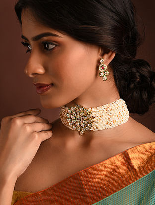 White Gold Tone Kundan Beaded Choker Necklace And Earrings