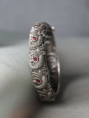 Red Silver Tone Tribal Openable Bangle (Bangle Size-2/8)