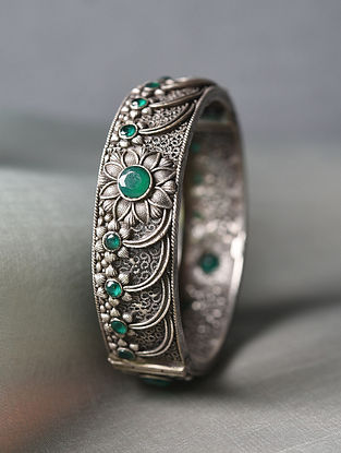 Green Silver Tone Tribal Openable Bangle (Bangle Size-2/6)