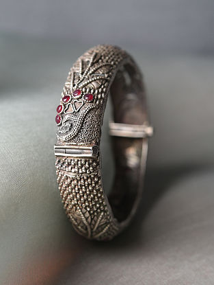 Red Silver Tone Tribal Openable Bangle