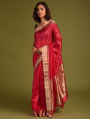 Red Handwoven Chanderi Silk Saree