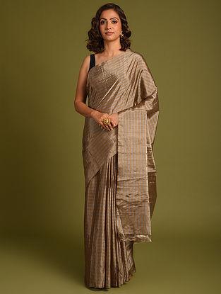 Brown Handwoven Chanderi Tissue Saree