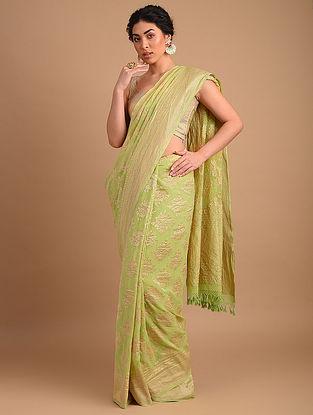 Green Benarasi Handloom Georgette Saree