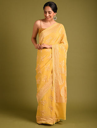 Yellow Benarasi Handloom Georgette Saree
