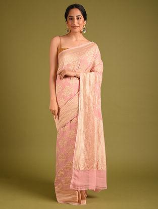 Pink Benarasi Handloom Georgette Saree