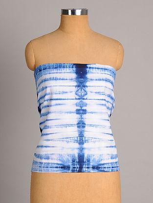 White Indigo Shibori Handwoven  Linen Cotton Slub Blouse Fabric