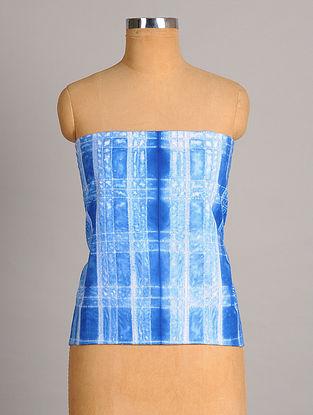 White Indigo Shibori Handwoven  Cotton  Blouse Fabric