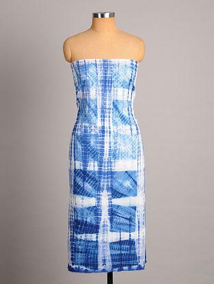 White Indigo   Shibori  Handwoven  Cotton Slub Kurta Fabric