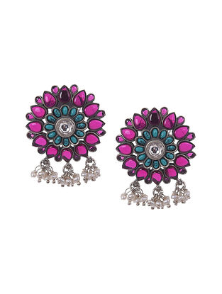 Maroon Turquoise kempstone Encrusted Temple Silver Earrings With Pearls